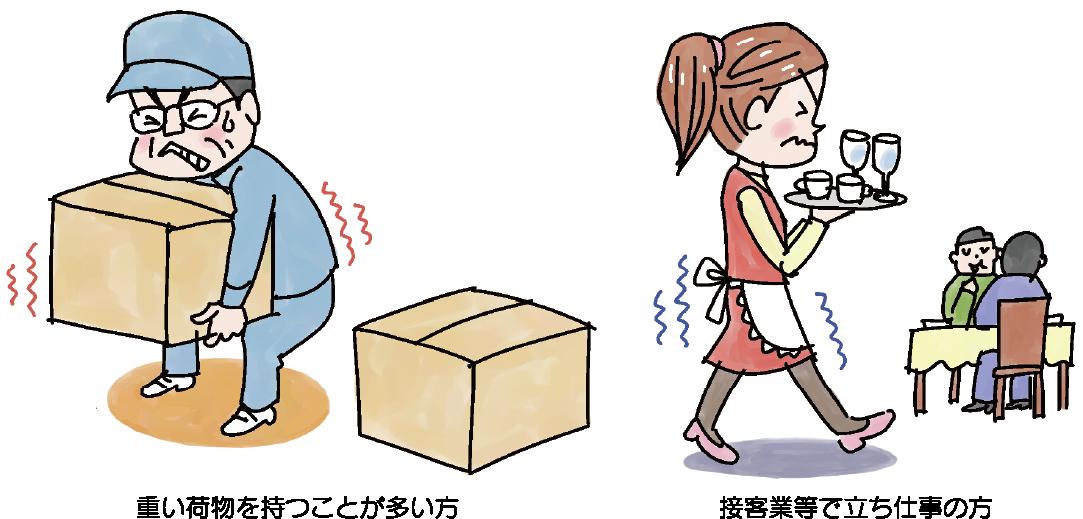 重い荷物を持つことが多い方